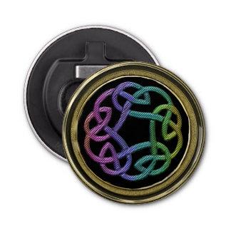 Rainbow on Black n Gold Celtic Knot Bottle Opener