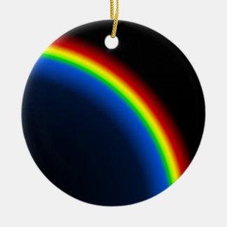Rainbow on black Double-Sided ceramic round christmas ornament