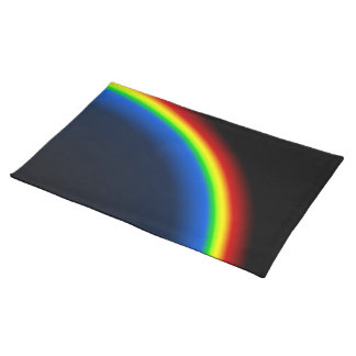 Rainbow on black placemat