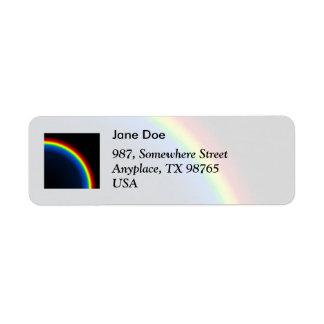 Rainbow on black return address label