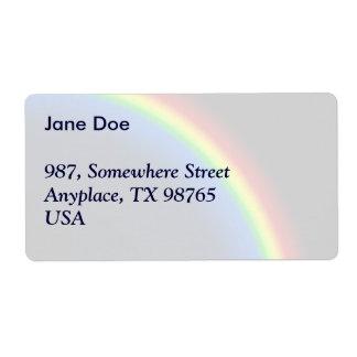 Rainbow on black shipping label