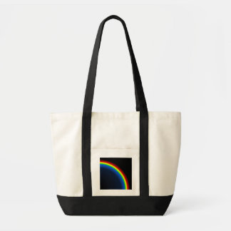 Rainbow on black tote bag