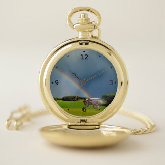 RAINBOW ON OLD TRACTOR POCKET WATCH