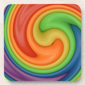 Rainbow on Spin Cycle Drink Coaster