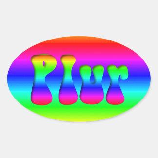 Rainbow Optical Illusion PLUR Oval Sticker