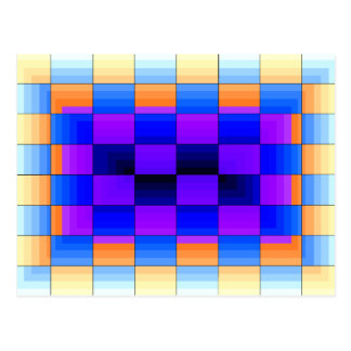Rainbow Optical Illusion Spectrum Color Chessboard Postcard