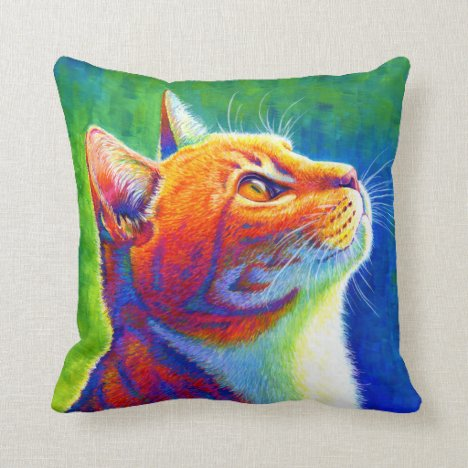 Rainbow Orange Tabby Cat Throw Pillow