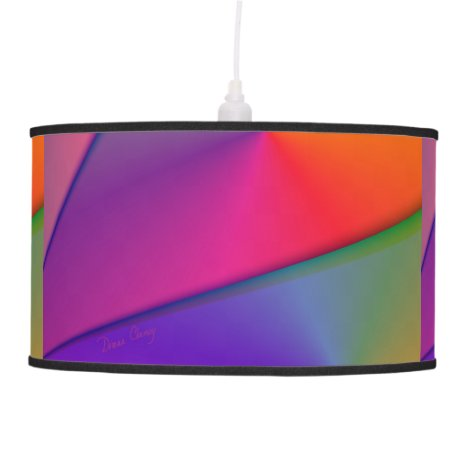 Rainbow Origami, Abstract Indigo Magenta Swirls Hanging Lamp