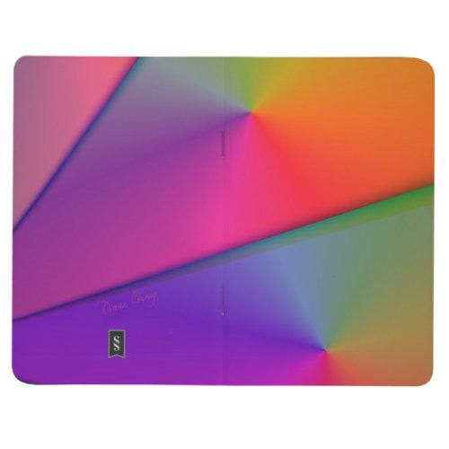 Rainbow Origami, Abstract Indigo Magenta Swirls Journal