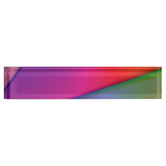 Rainbow Origami, Abstract Indigo Magenta Swirls Desk Name Plates