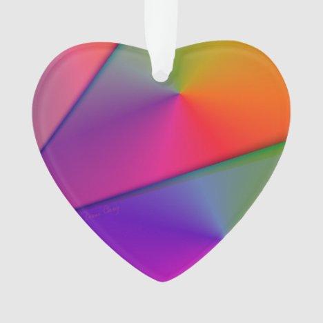 Rainbow Origami, Abstract Indigo Magenta Swirls Ornament