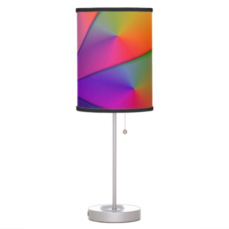 Rainbow Origami, Abstract Indigo Magenta Swirls Table Lamp