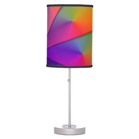Rainbow Origami, Abstract Indigo Magenta Swirls Table Lamp