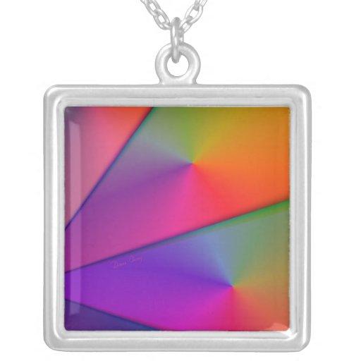 Rainbow Origami – Indigo & Magenta Swirls Square Pendant Necklace
