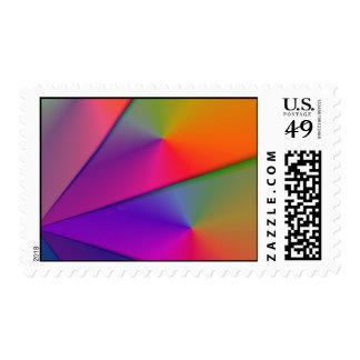 Rainbow Origami – Indigo & Magenta Swirls Postage Stamp