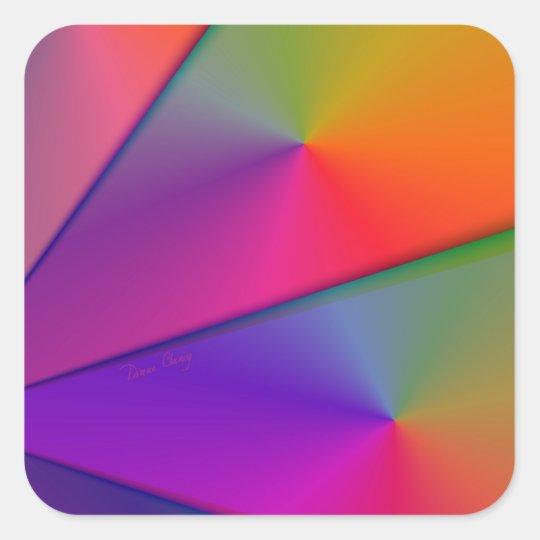 Rainbow Origami – Indigo & Magenta Swirls Square Sticker