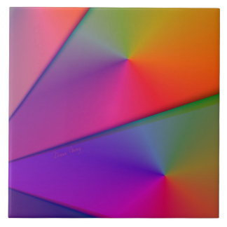 Rainbow Origami – Indigo & Magenta Swirls Large Square Tile