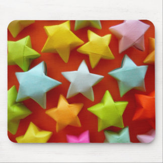 Rainbow origami stars mouse pad