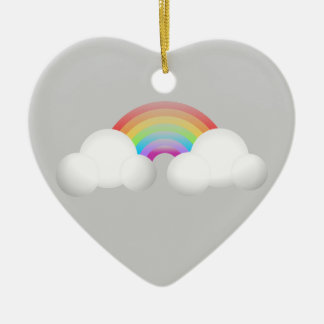 Rainbow Double-Sided Heart Ceramic Christmas Ornament