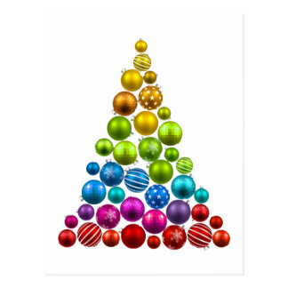 Rainbow Ornament Christmas Tree Postcard