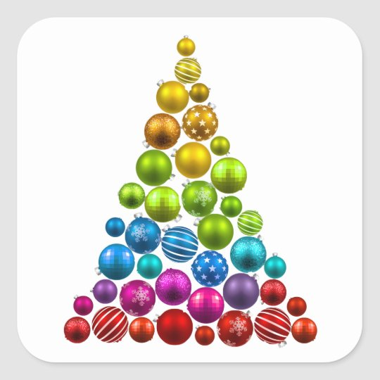 Rainbow Christmas Trees: Rainbow Ornament Christmas Tree Square Sticker