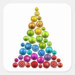 Rainbow Ornament Christmas Tree Square Sticker
