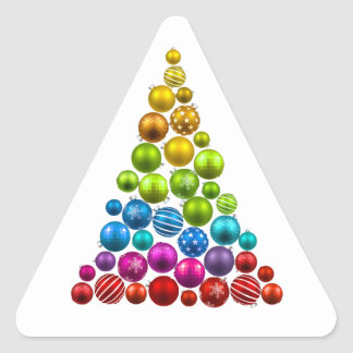 Rainbow Ornament Christmas Tree Triangle Sticker