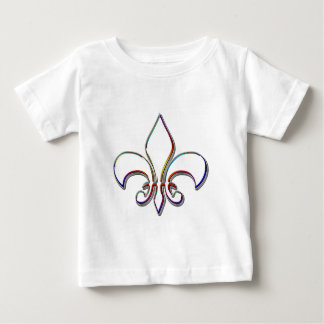 Rainbow Outlined Fleur de Lis Baby T-Shirt