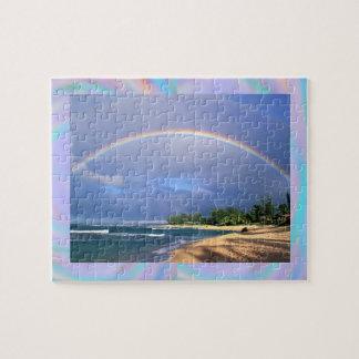 Rainbow over beach and ocean jigsaw puzzle