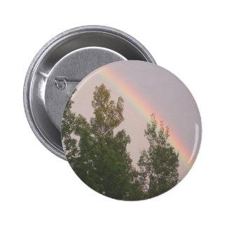 Rainbow Over Cedar  Trees Pinback Button