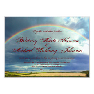 Rainbow Over Country Fields Wedding Invitations