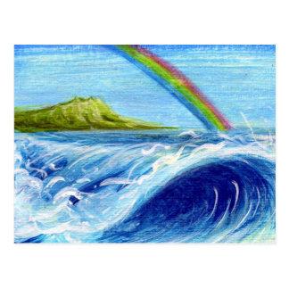 Rainbow over Daimond Head and Wave Postcard