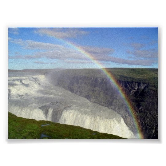 Rainbow over Gullfoss waterfall Iceland Poster