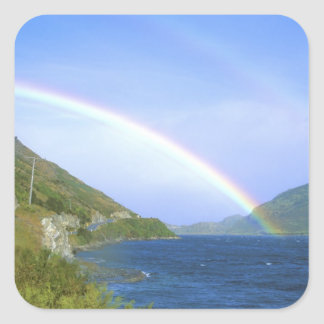 Rainbow over Hawea Lake, South Island, New Square Sticker