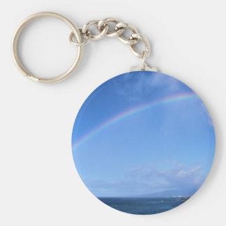 Rainbow over Honolulu, Hawaii Basic Round Button Keychain