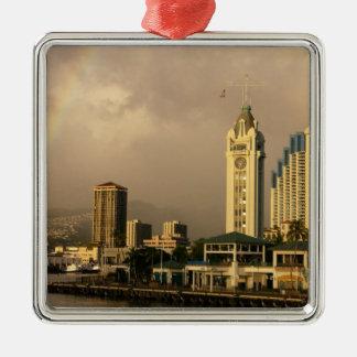 Rainbow over Honolulu, Hawaii, USA 2 Square Metal Christmas Ornament