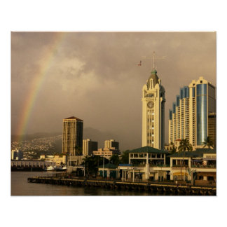 Rainbow over Honolulu, Hawaii, USA 2 Poster