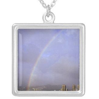 Rainbow over Honolulu, Hawaii, USA Silver Plated Necklace