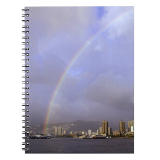 Rainbow over Honolulu, Hawaii, USA Spiral Notebook
