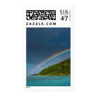 Rainbow over island, American Samoa Postage