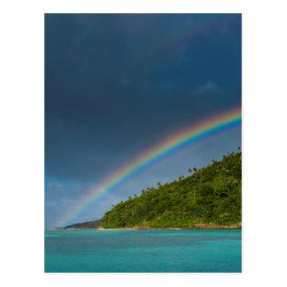 Rainbow over island, American Samoa Postcard