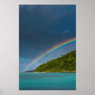 Rainbow over island, American Samoa Poster