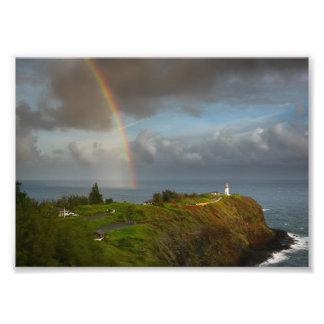Rainbow over Kilauea Lighthouse on Kauai Photo Print