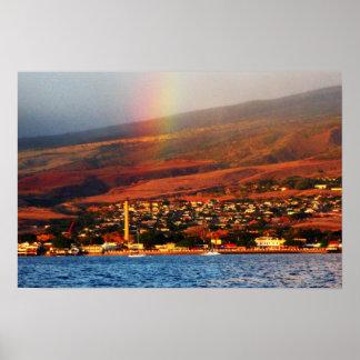Rainbow over Lahaina Poster