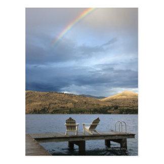 Rainbow over lake and dock postcard
