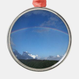 Rainbow over Manoa town on the island of Oahu. Christmas Ornaments
