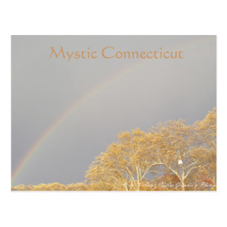 Rainbow over Mystic CT Postcard