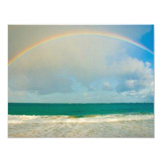 Rainbow over ocean 4.25x5.5 paper invitation card