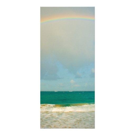 Rainbow over ocean custom rack card