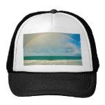 Rainbow over ocean mesh hat